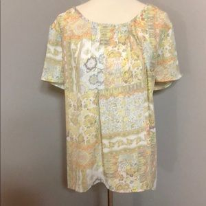 14/17W Neutral Pattern Sheer Top w Cut Out Back